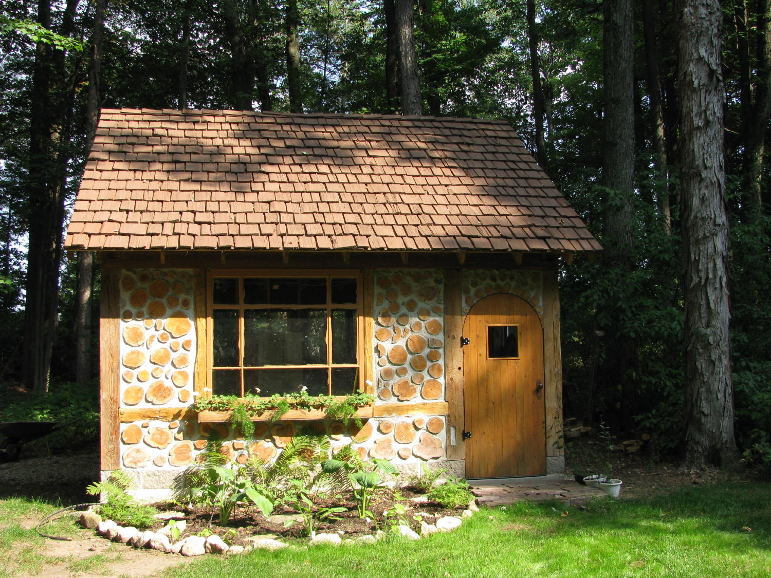 cordwood cottage garden shed in green bay wisconsin