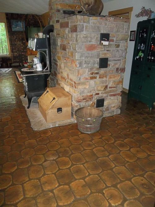 The cordwood floor, masonry heater and wood cookstove.  The perfect homestead trifecta!